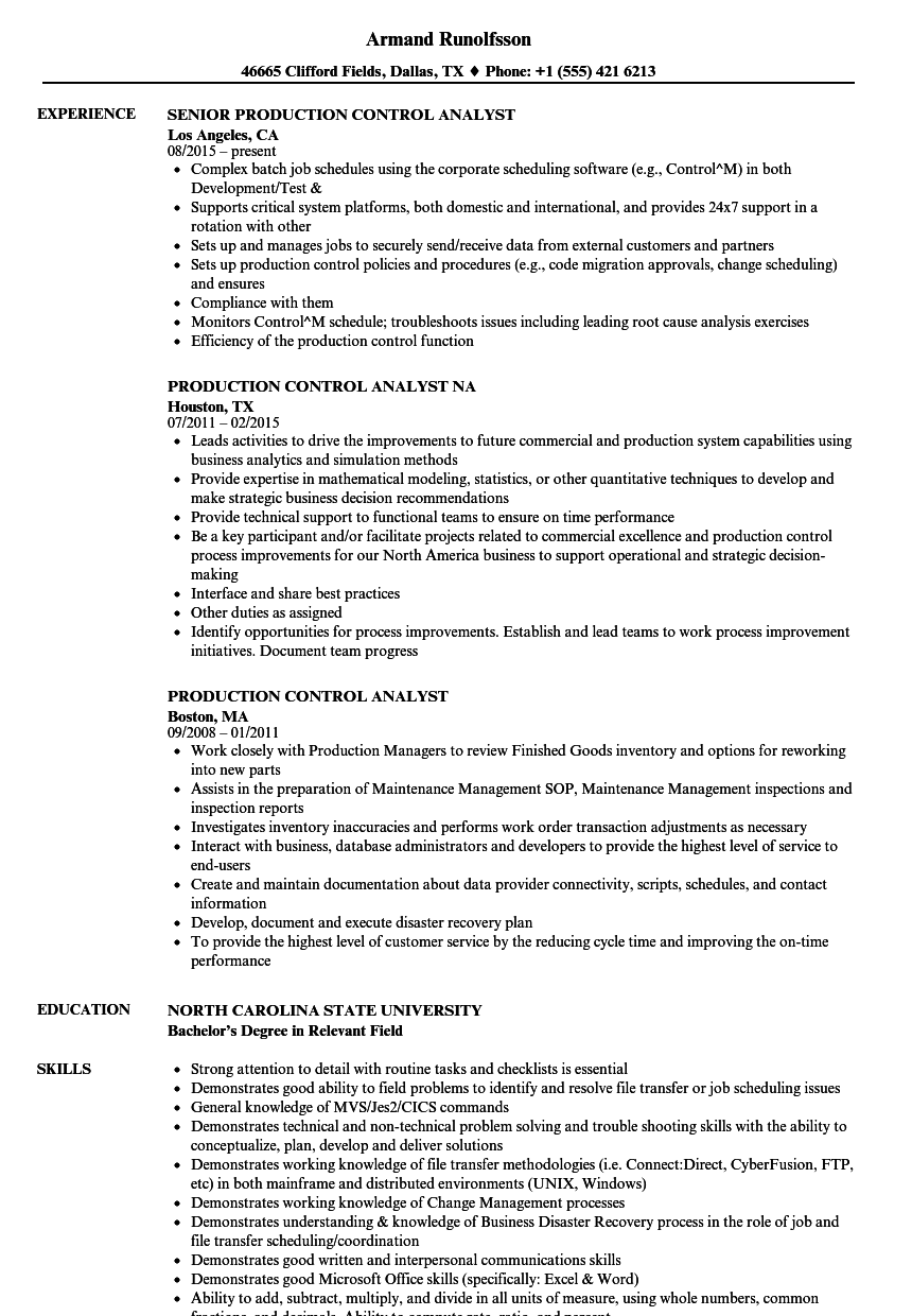 Production Control Analyst Resume Samples Velvet Jobs