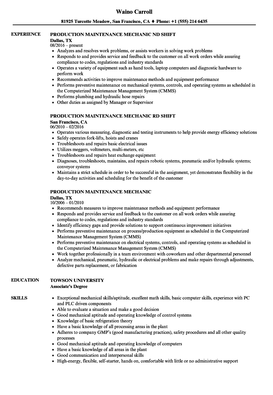 Production Maintenance Mechanic Resume Samples Velvet Jobs  Maintenance Mechanic Resume