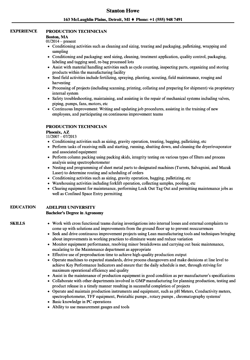 Production Technician Resume Samples Velvet Jobs