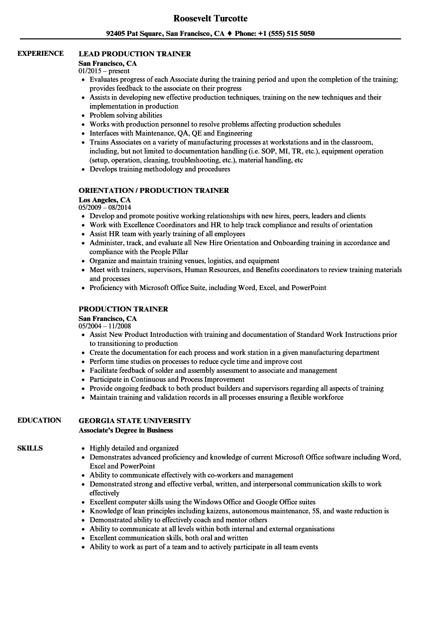 Production Trainer Resume Samples Velvet Jobs