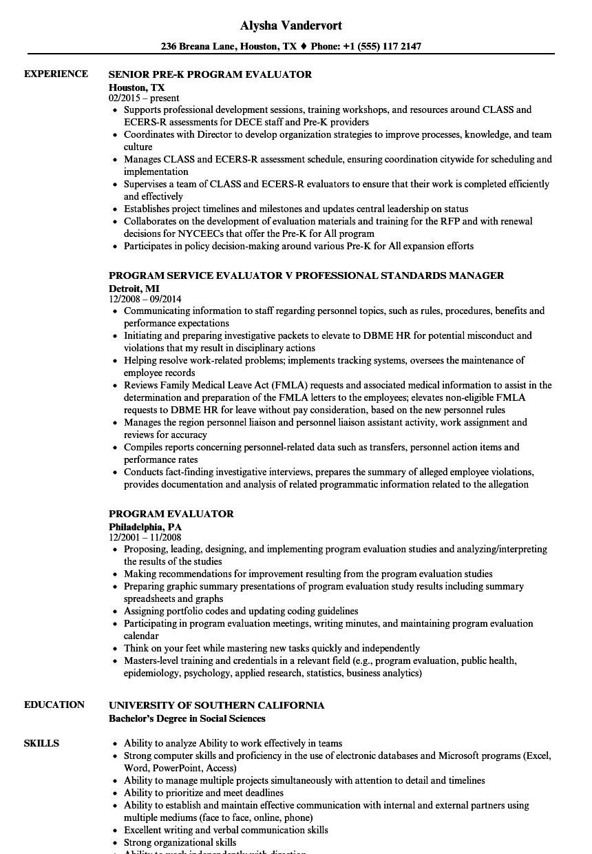Program Evaluator Resume Samples Velvet Jobs