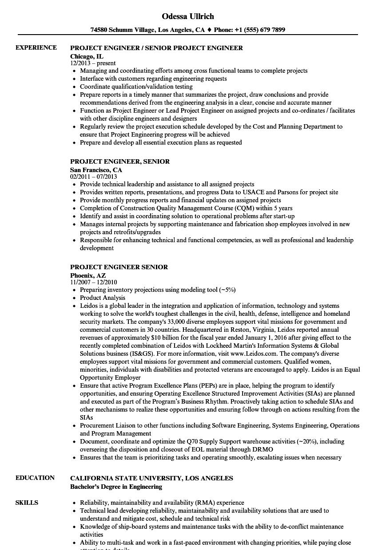 Download Project Engineer Senior Resume Sample As Image File