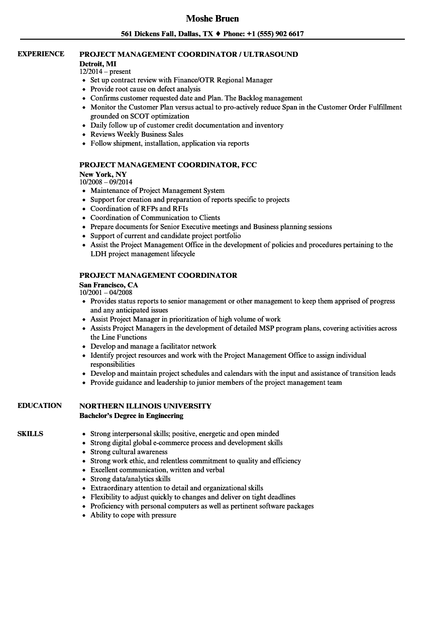 Project Management Coordinator Resume Samples  Velvet Jobs