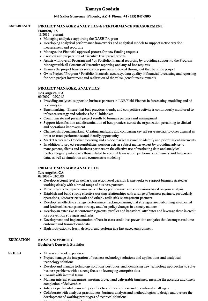 Project Manager Analytics Resume Samples Velvet Jobs