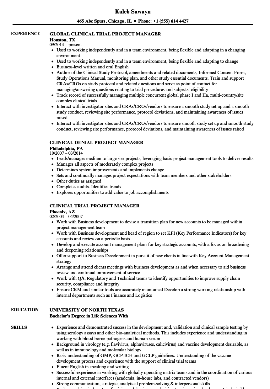 Project Manager Clinical Resume Samples Velvet Jobs