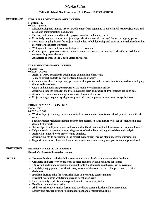 Project Manager Intern Resume Samples Velvet Jobs