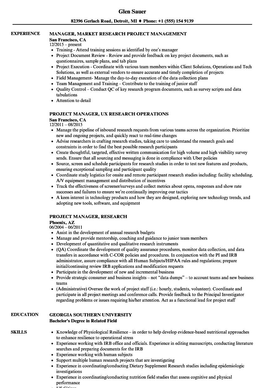 Project Manager Research Resume Samples Velvet Jobs