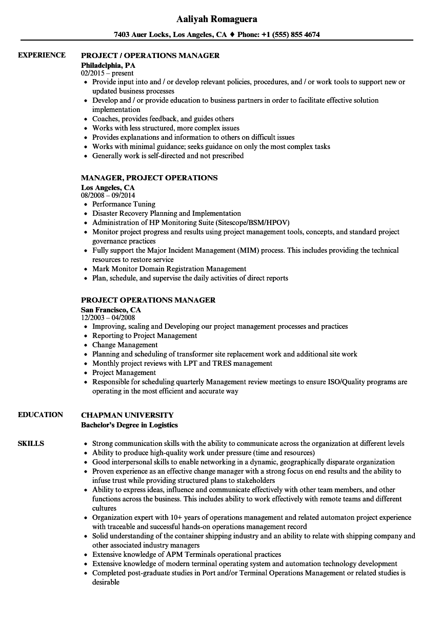bank operations manager sample resume