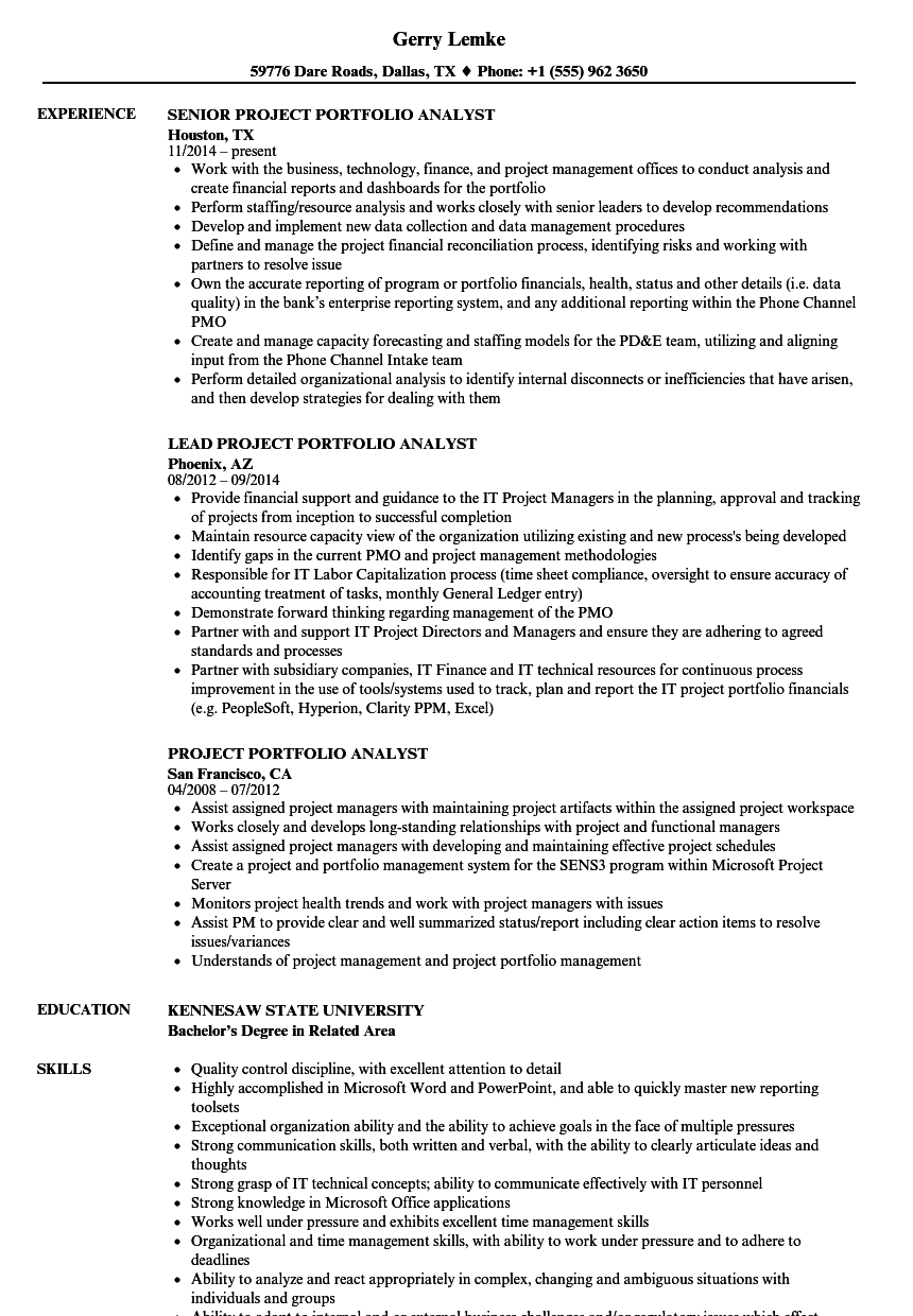 Project Portfolio Analyst Resume Samples Velvet Jobs