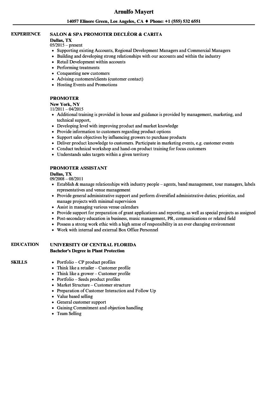 Promoter Resume Samples Velvet Jobs