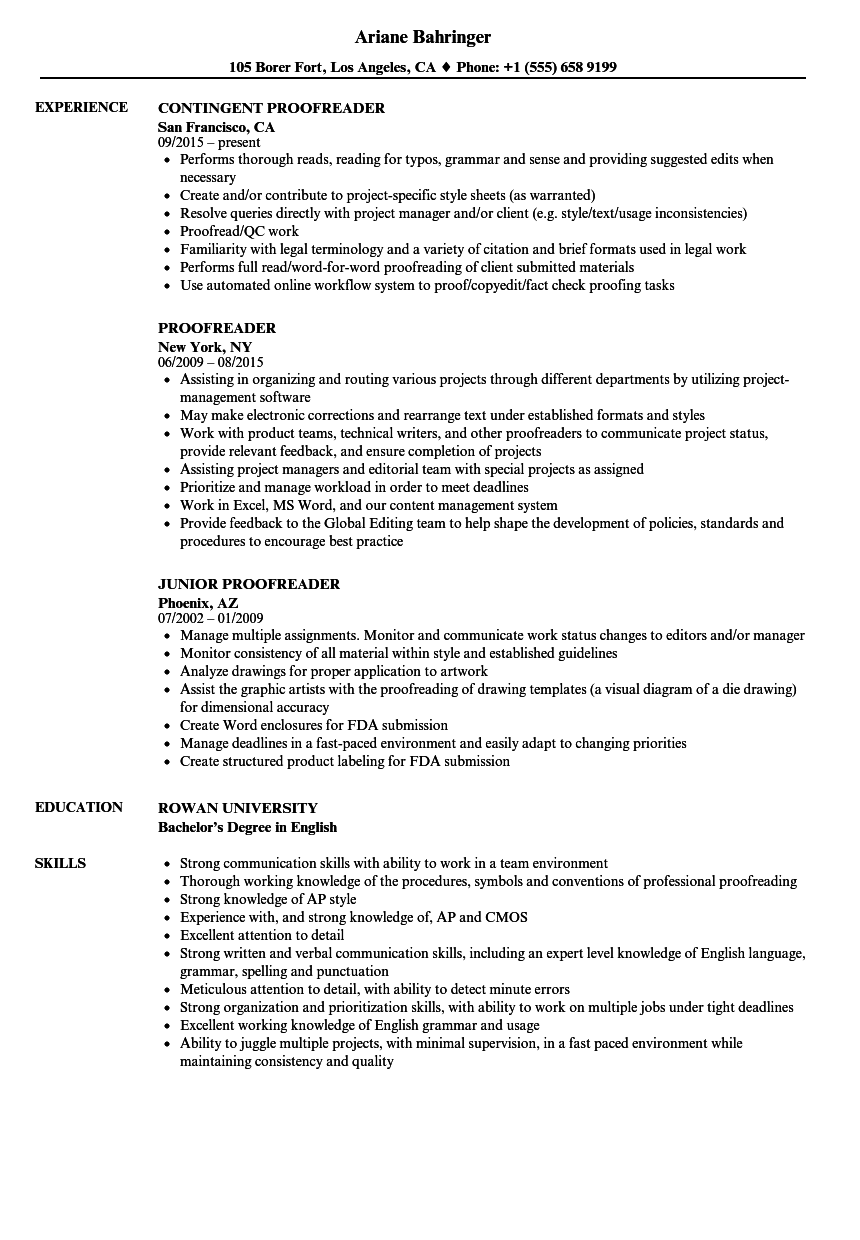 Proofreader Resume Samples Velvet Jobs