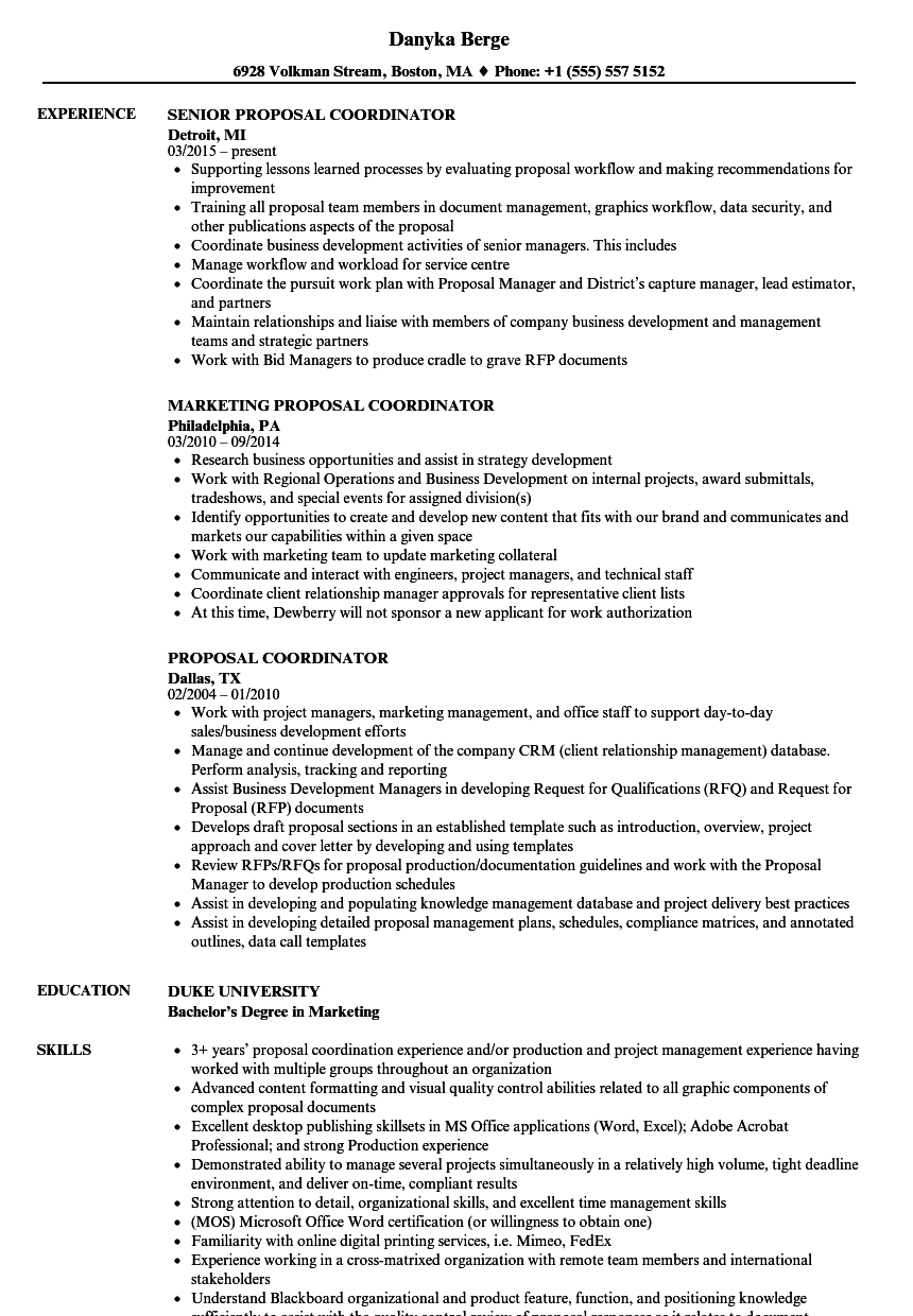 Proposal Coordinator Resume Samples Velvet Jobs