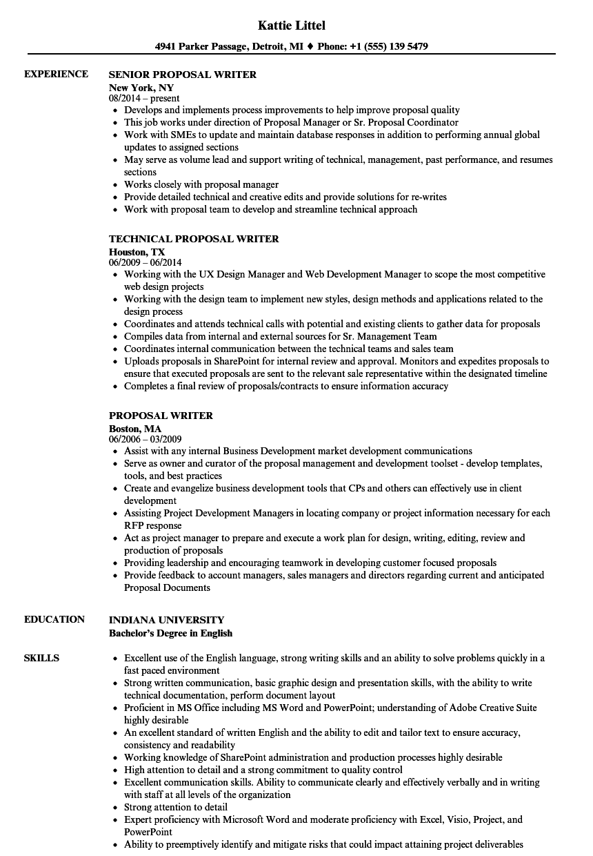 example of resume for proposal writer