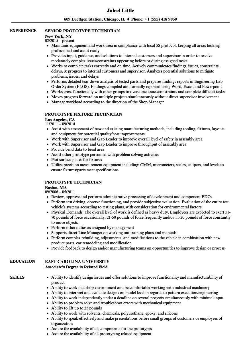 Prototype Technician Resume Samples Velvet Jobs
