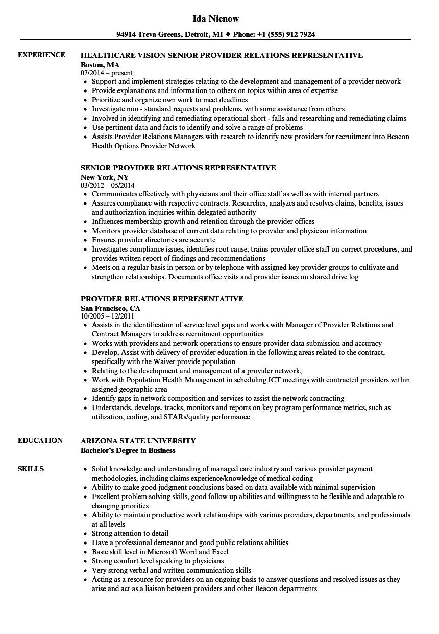 Provider Relations Representative Resume Samples Velvet Jobs