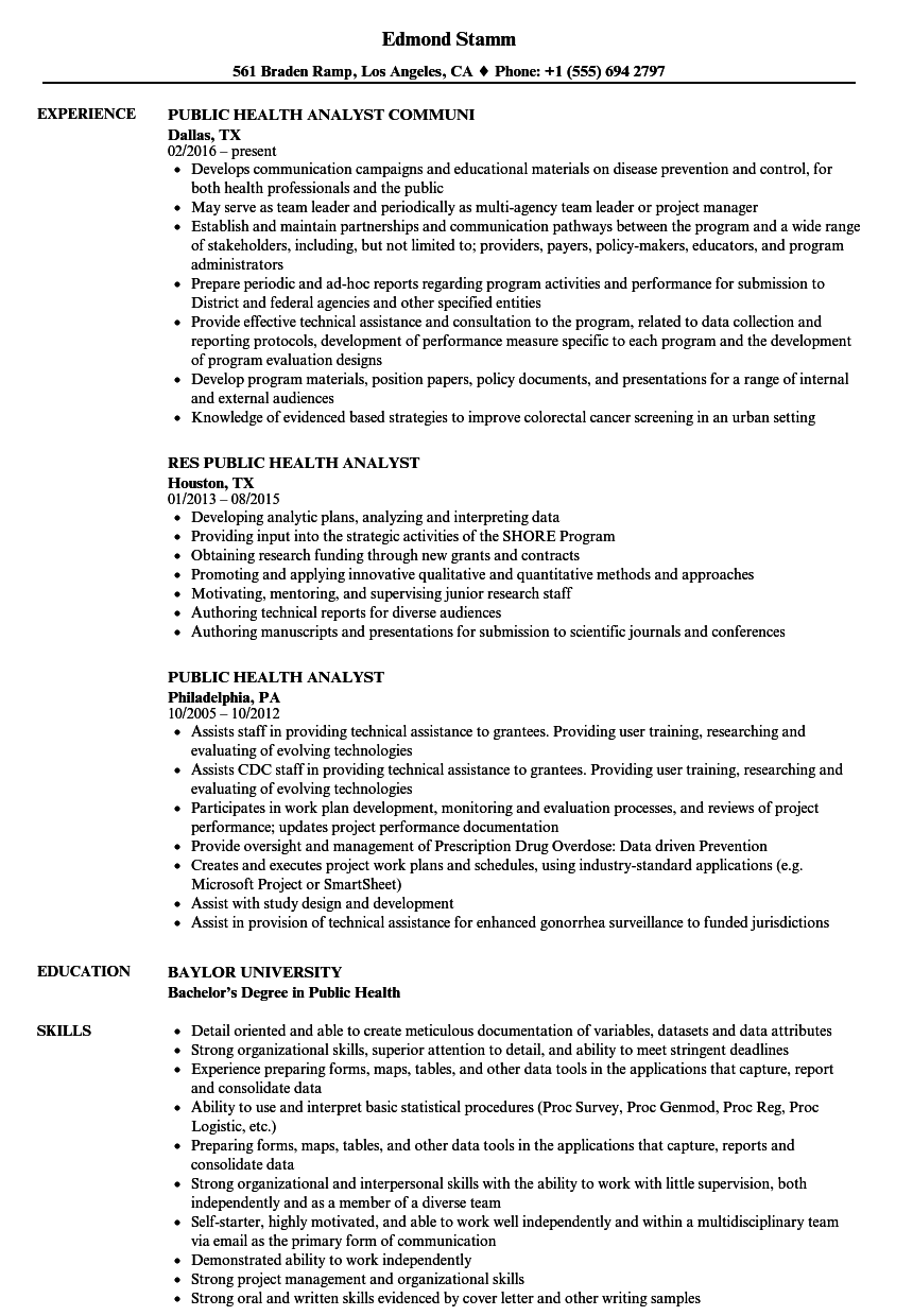 Public Health Analyst Resume Samples Velvet Jobs