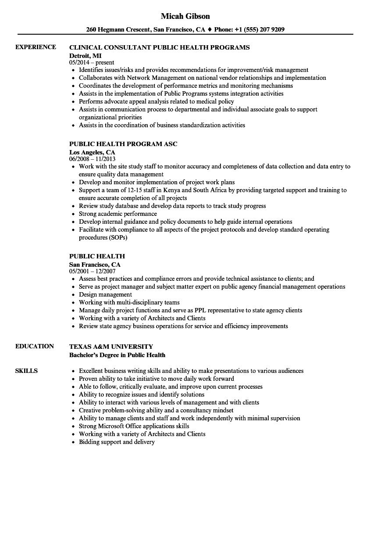 resume sample for public health
