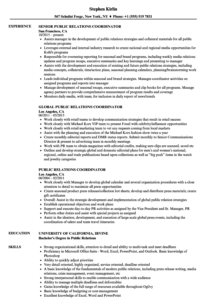 Public Relations Coordinator Resume Samples Velvet Jobs