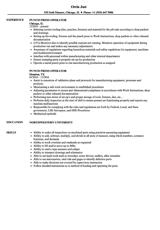 punch press operator sample resume