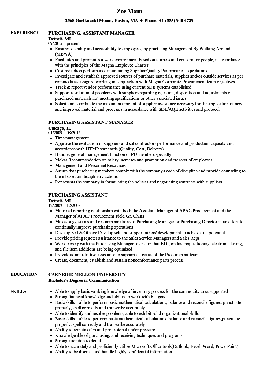 Purchasing Assistant Resume Samples  Velvet Jobs