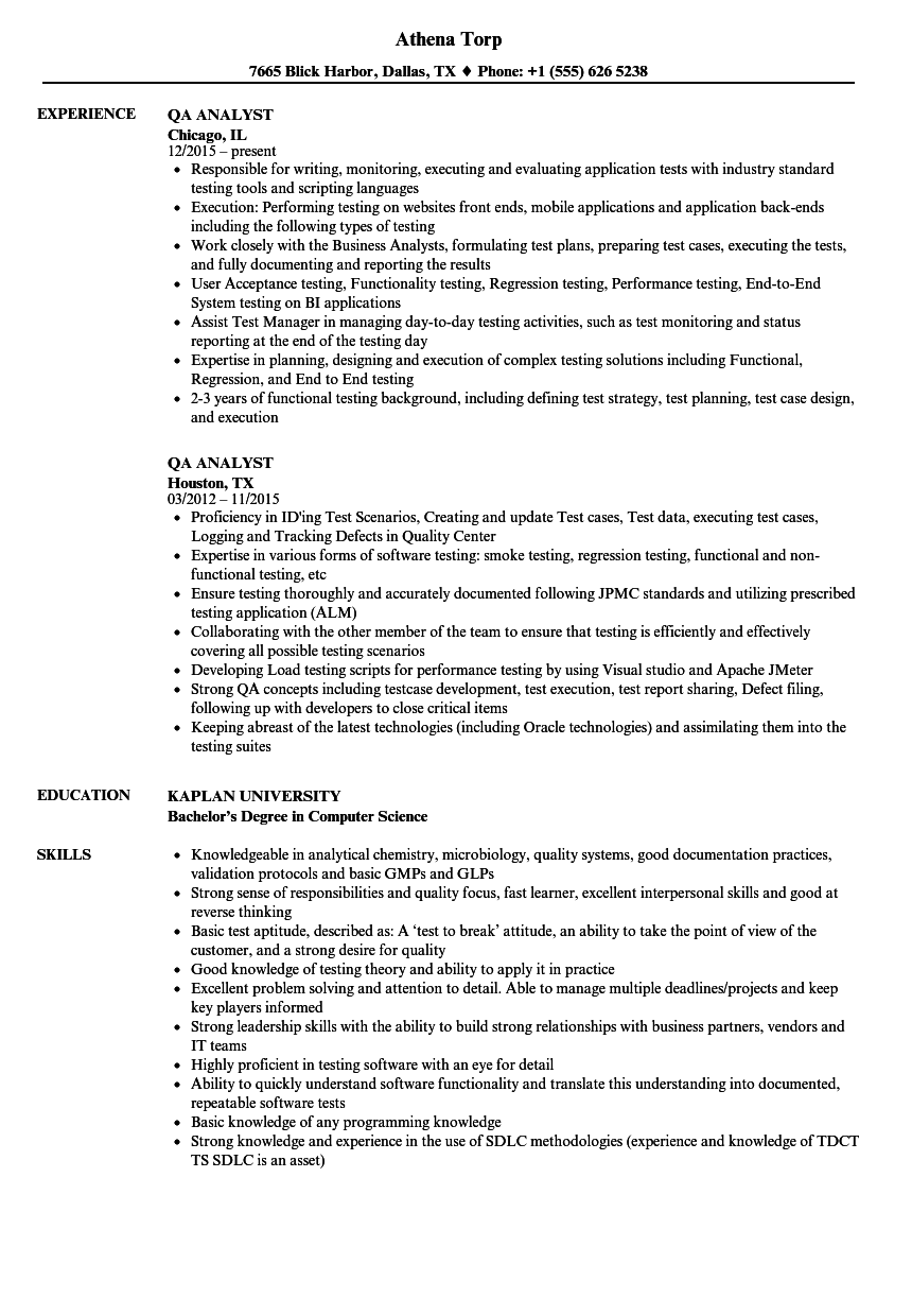 sample qa resume with banking experience