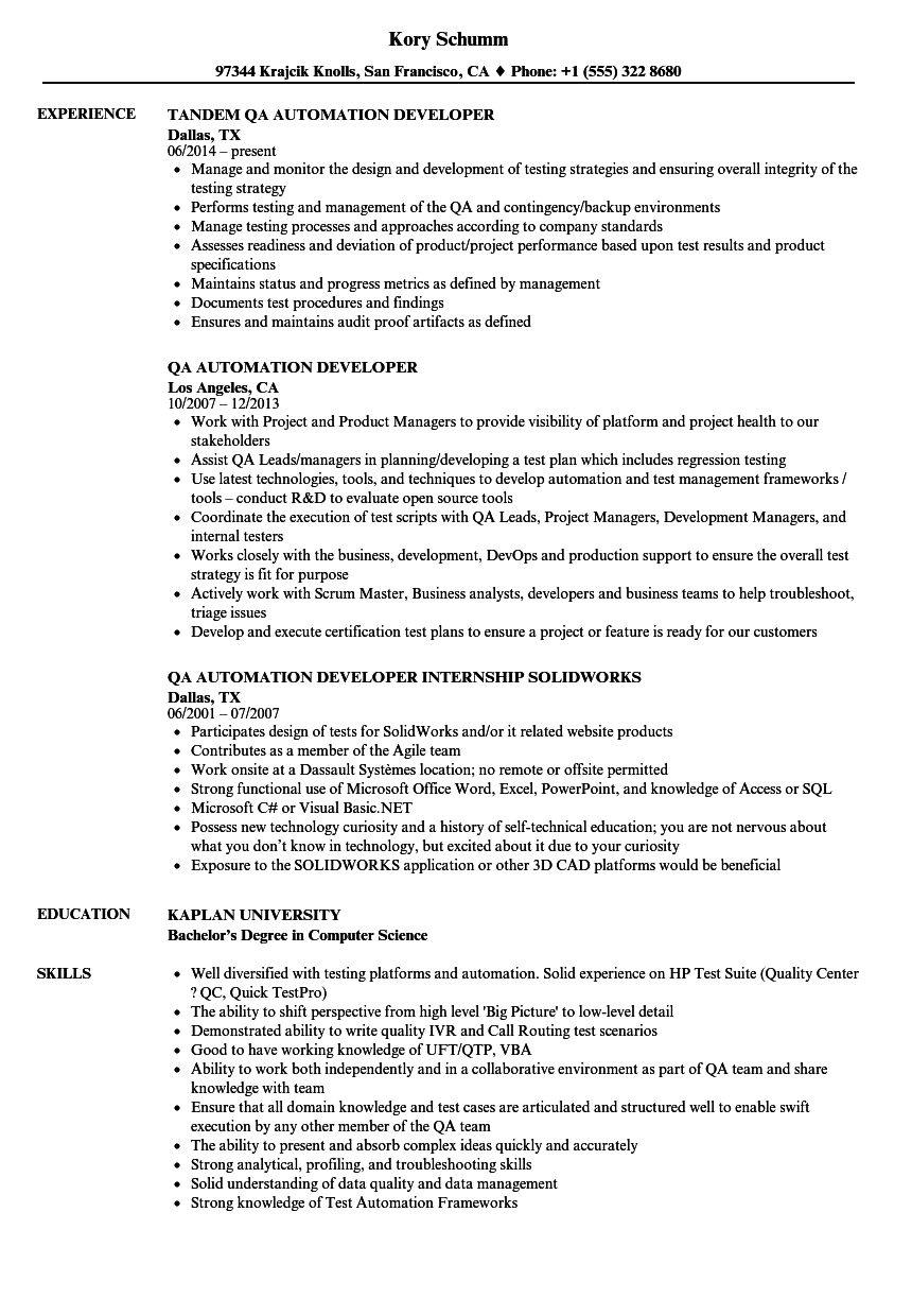 java with automation sample resume