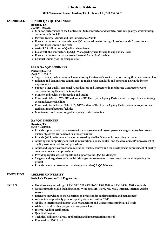 sample resume quality control civil engineer