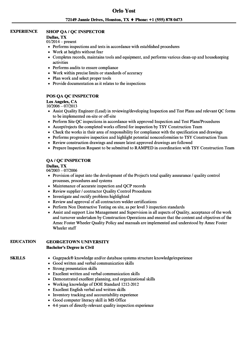 engineer resume sample qc
