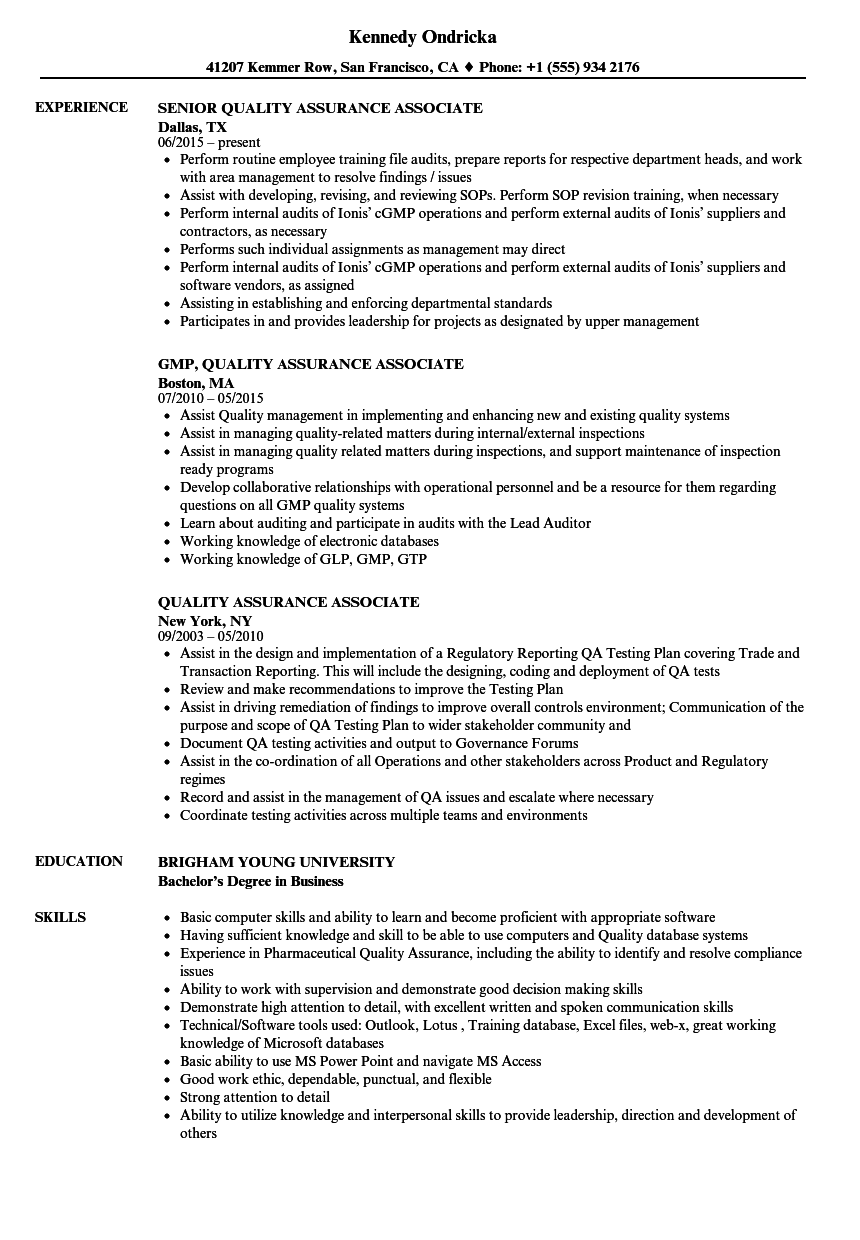 Quality Assurance Associate Resume Samples  Velvet Jobs