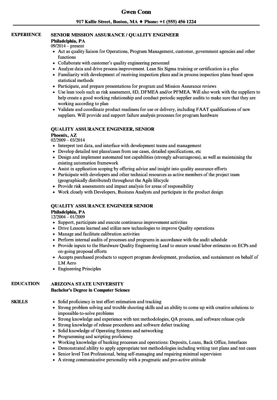 senior quality assurance engineer resume