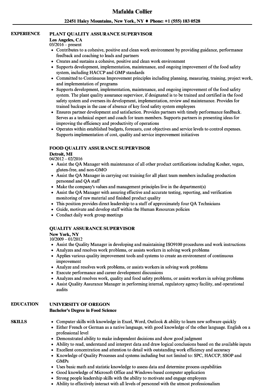 Quality Assurance Supervisor Resume Samples  Velvet Jobs