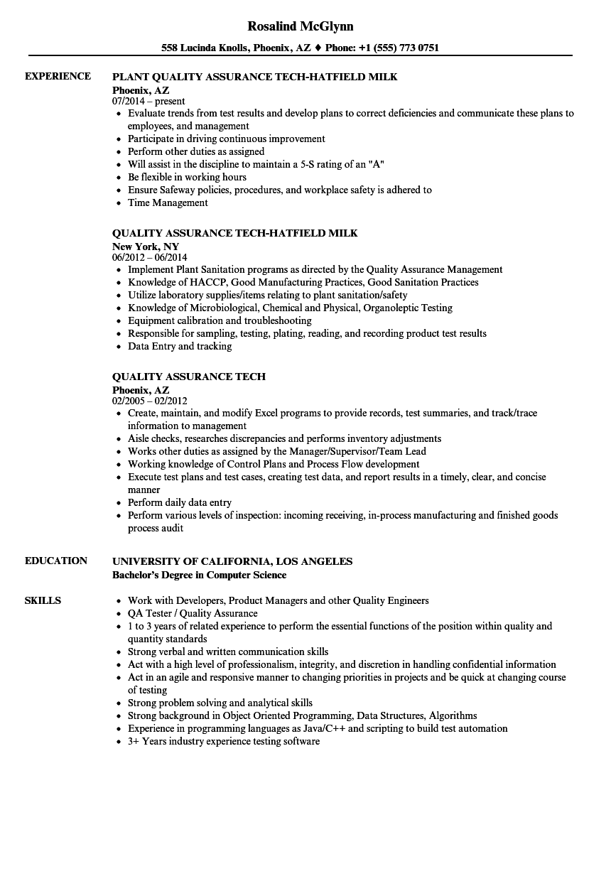 Quality Assurance Tech Resume Samples Velvet Jobs