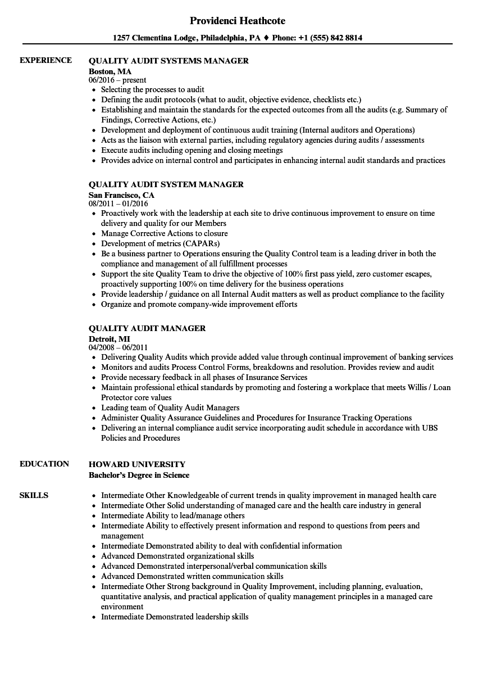 Quality & Audit Resume Samples Velvet Jobs