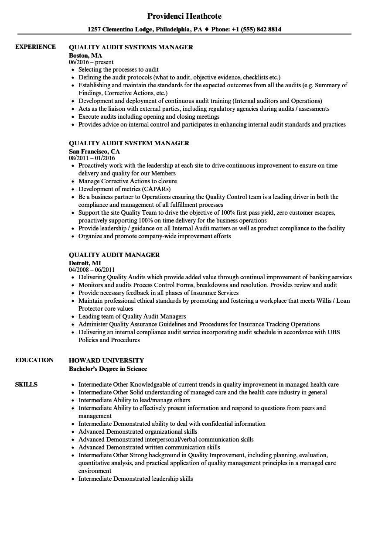 customer quality assurance resume