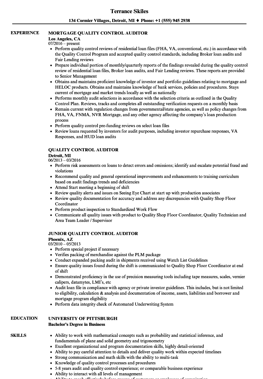 quality control auditor resume sample
