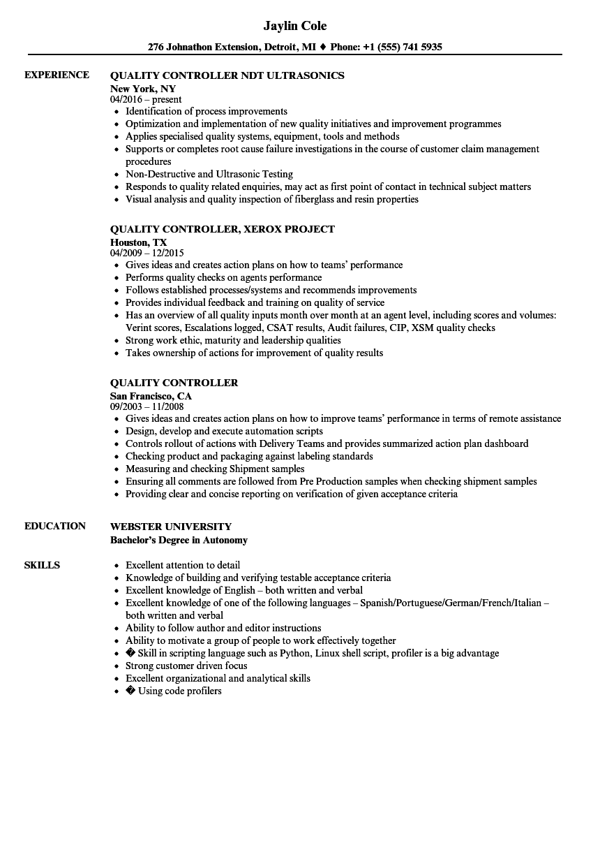 Quality Control Resume Examples - Examples of Resumes