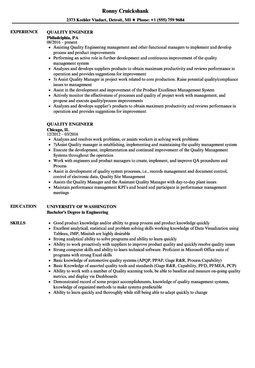 Quality Engineer Resume Samples  Velvet Jobs