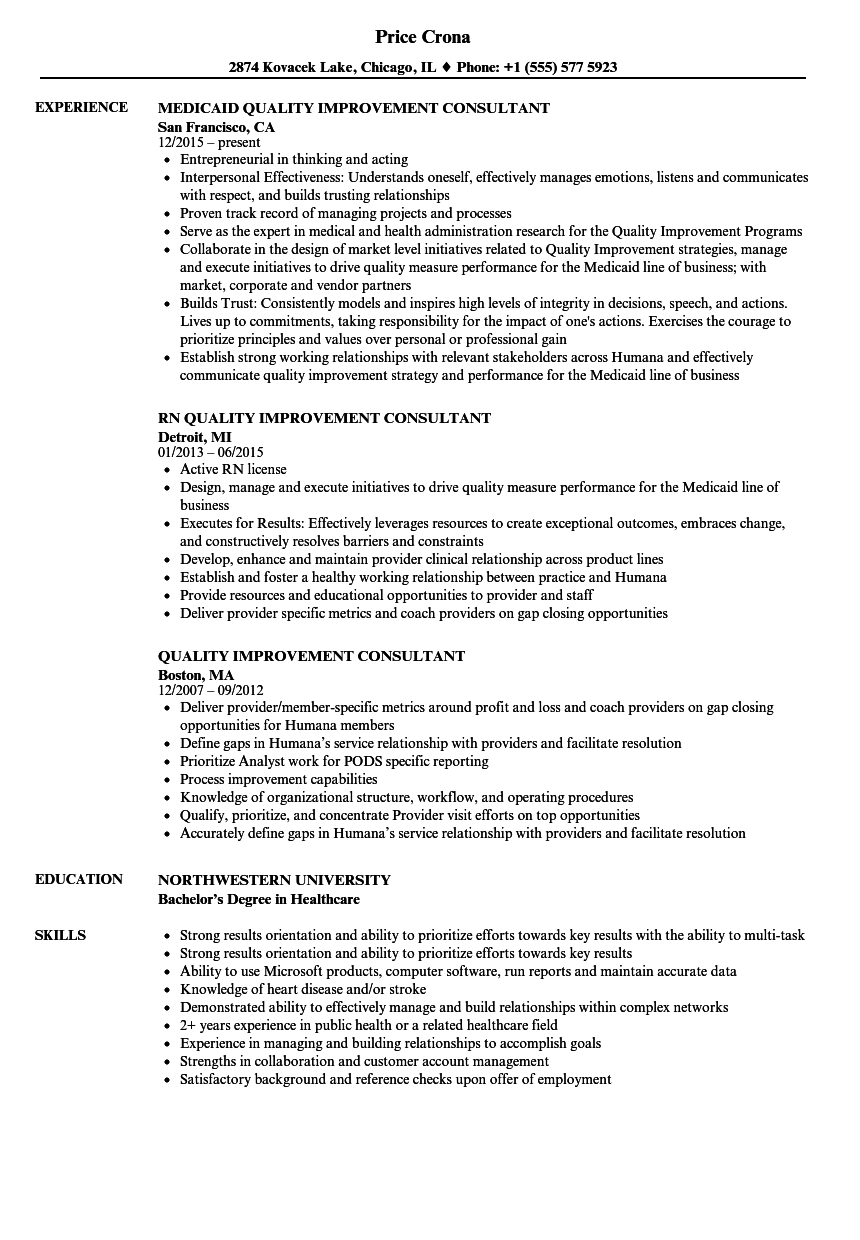 Quality Improvement Consultant Resume Samples Velvet Jobs