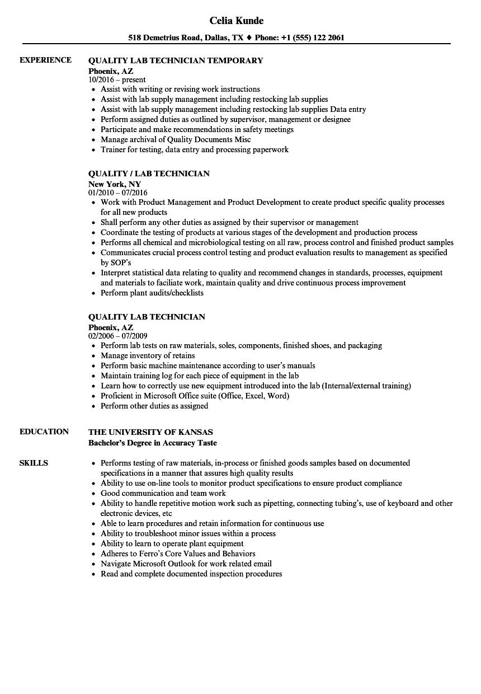 Quality Lab Technician Resume Samples Velvet Jobs