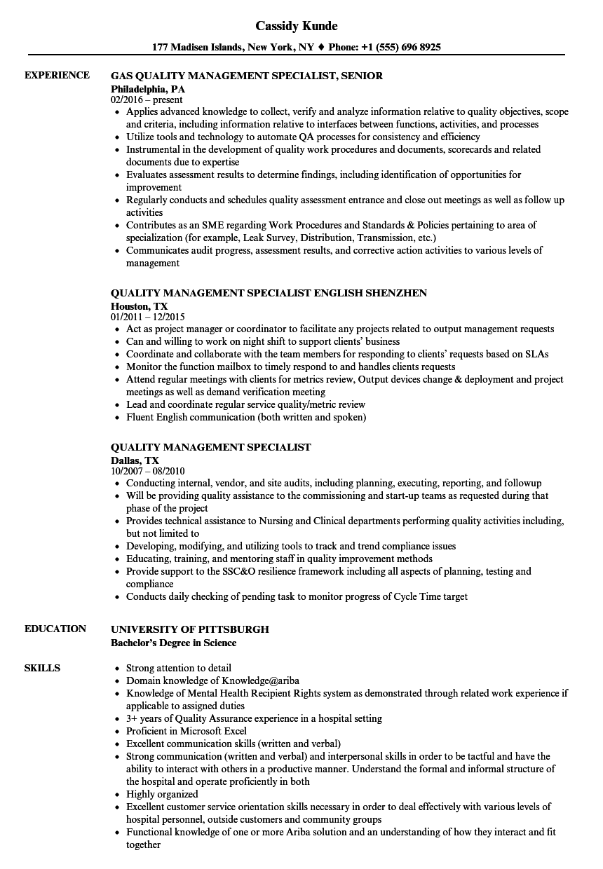 sample resume for quality improvement specialist