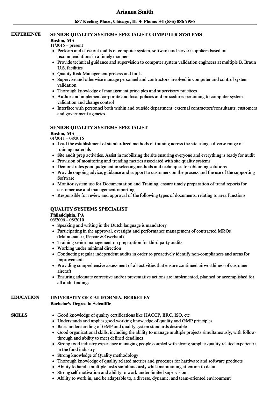 sample computer specialist resume