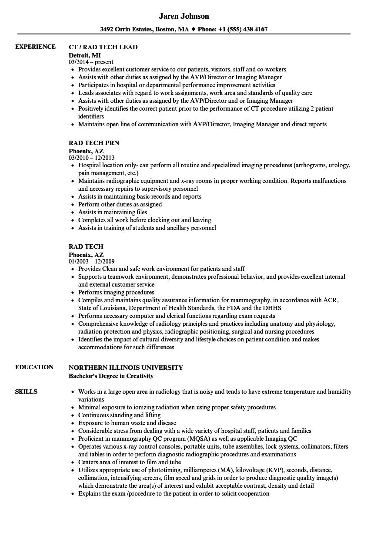Rad Tech Resume Samples Velvet Jobs