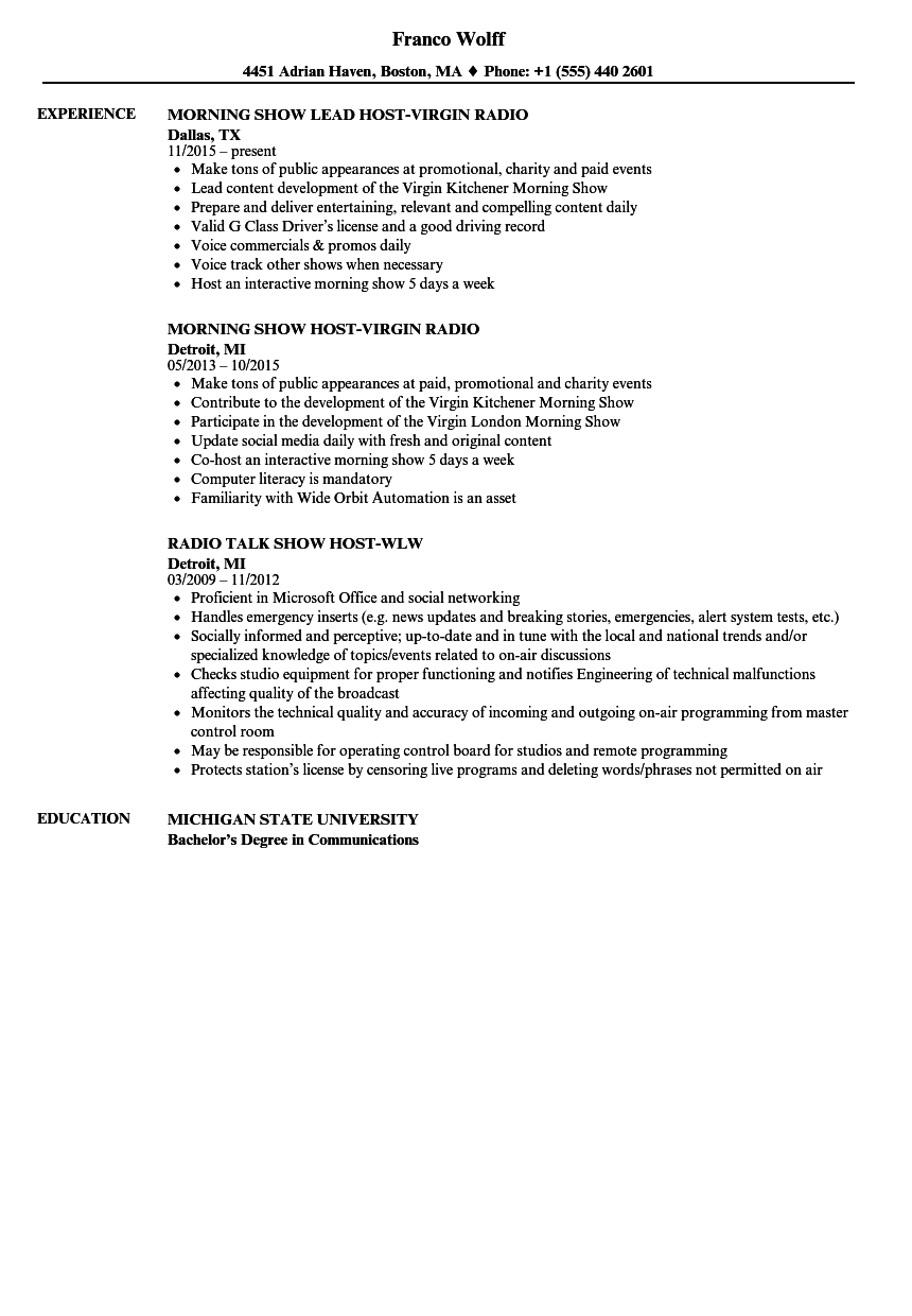 Radio Host Resume Samples  Velvet Jobs