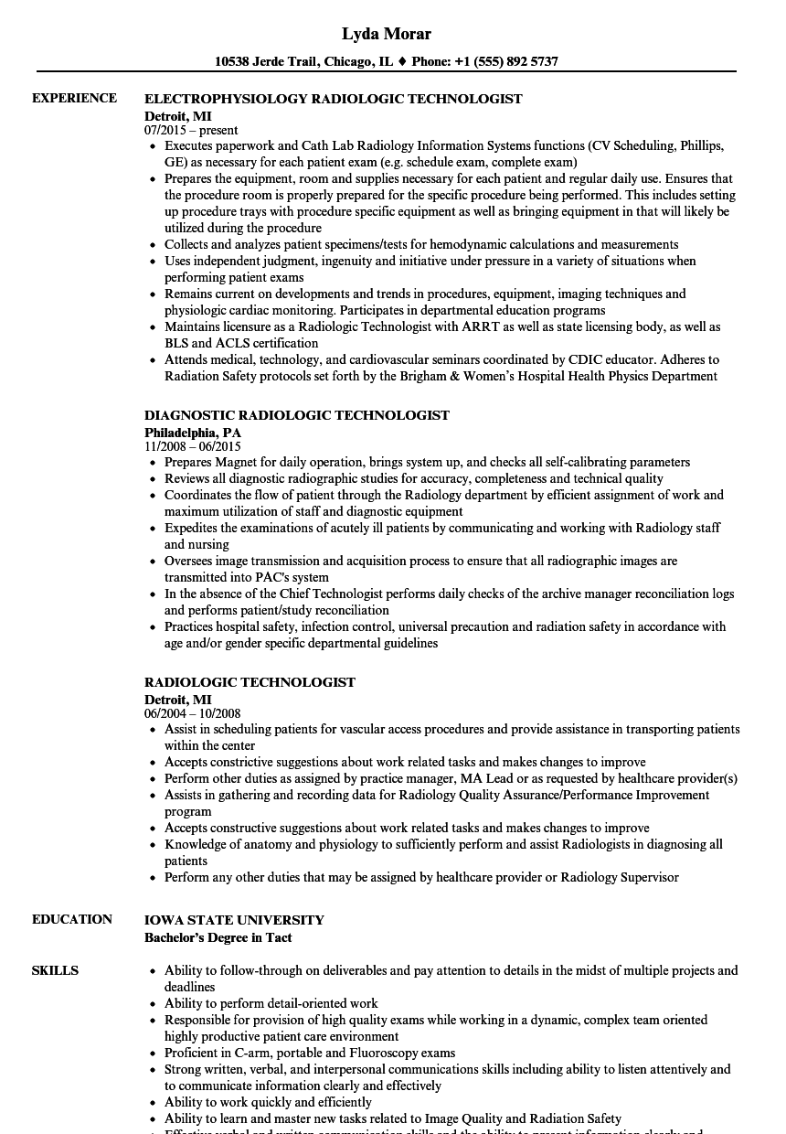 Radiologic Technologist Resume Samples Velvet Jobs