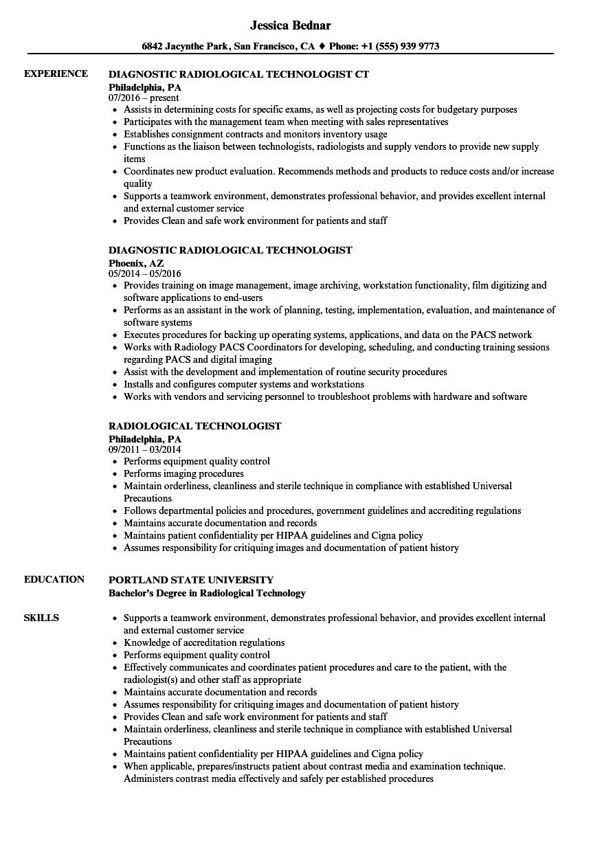 ct technologist resume sample
