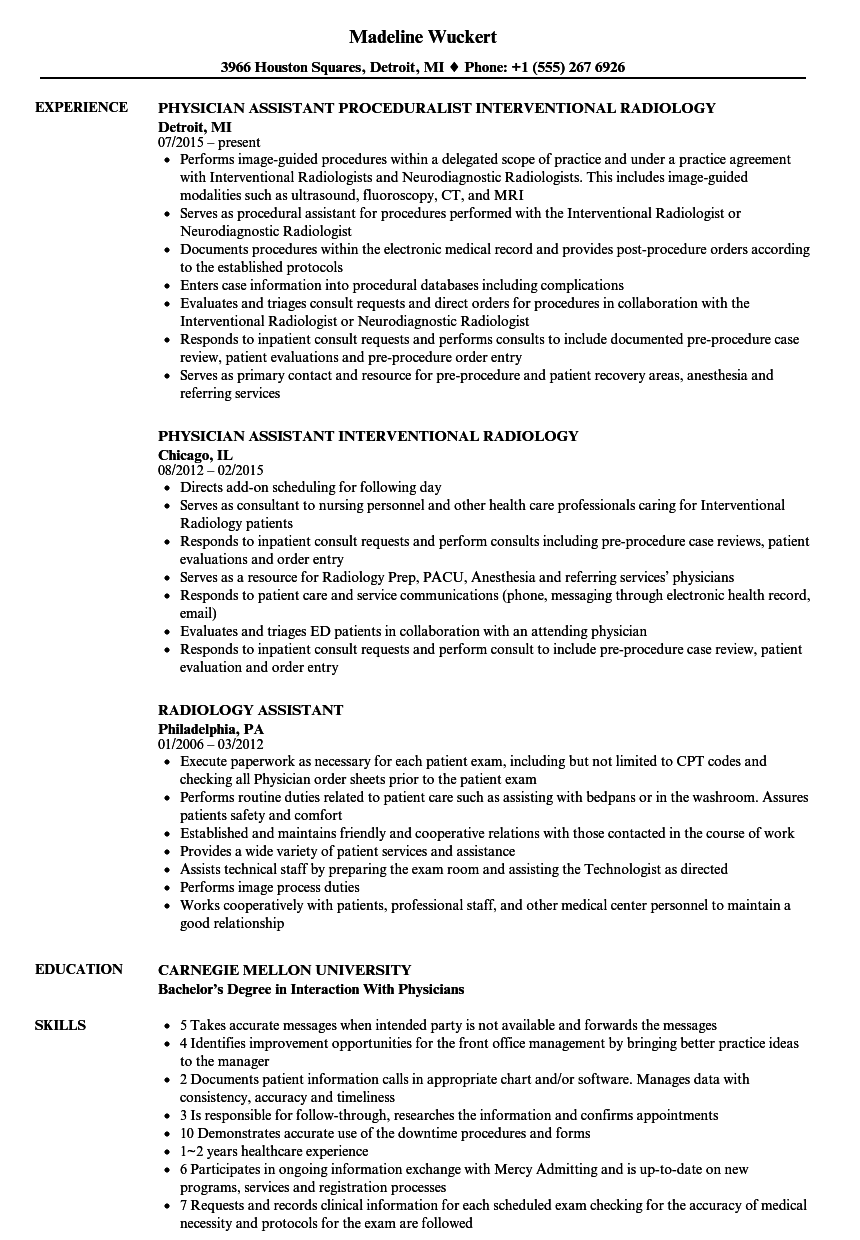 interventional radiology physician assistant resume sample