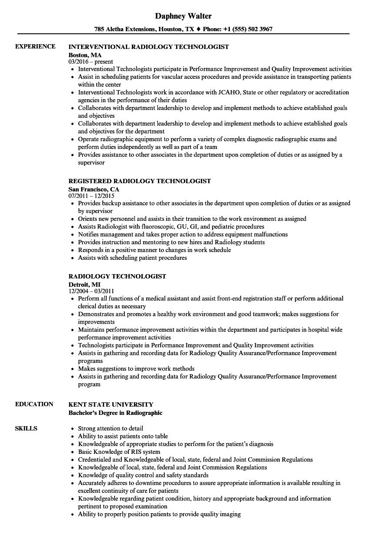 radiology technologist resume sample
