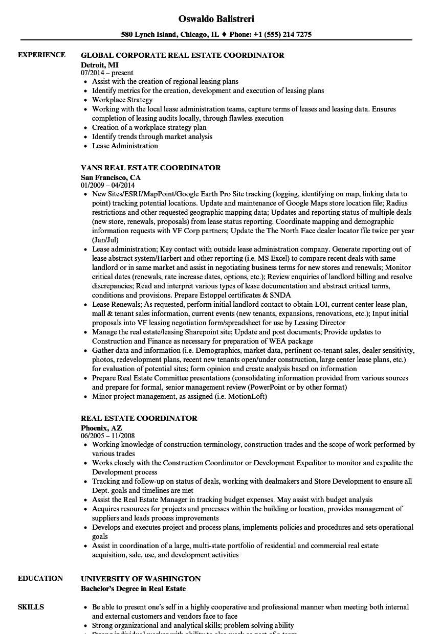 Real Estate Coordinator Resume Samples Velvet Jobs