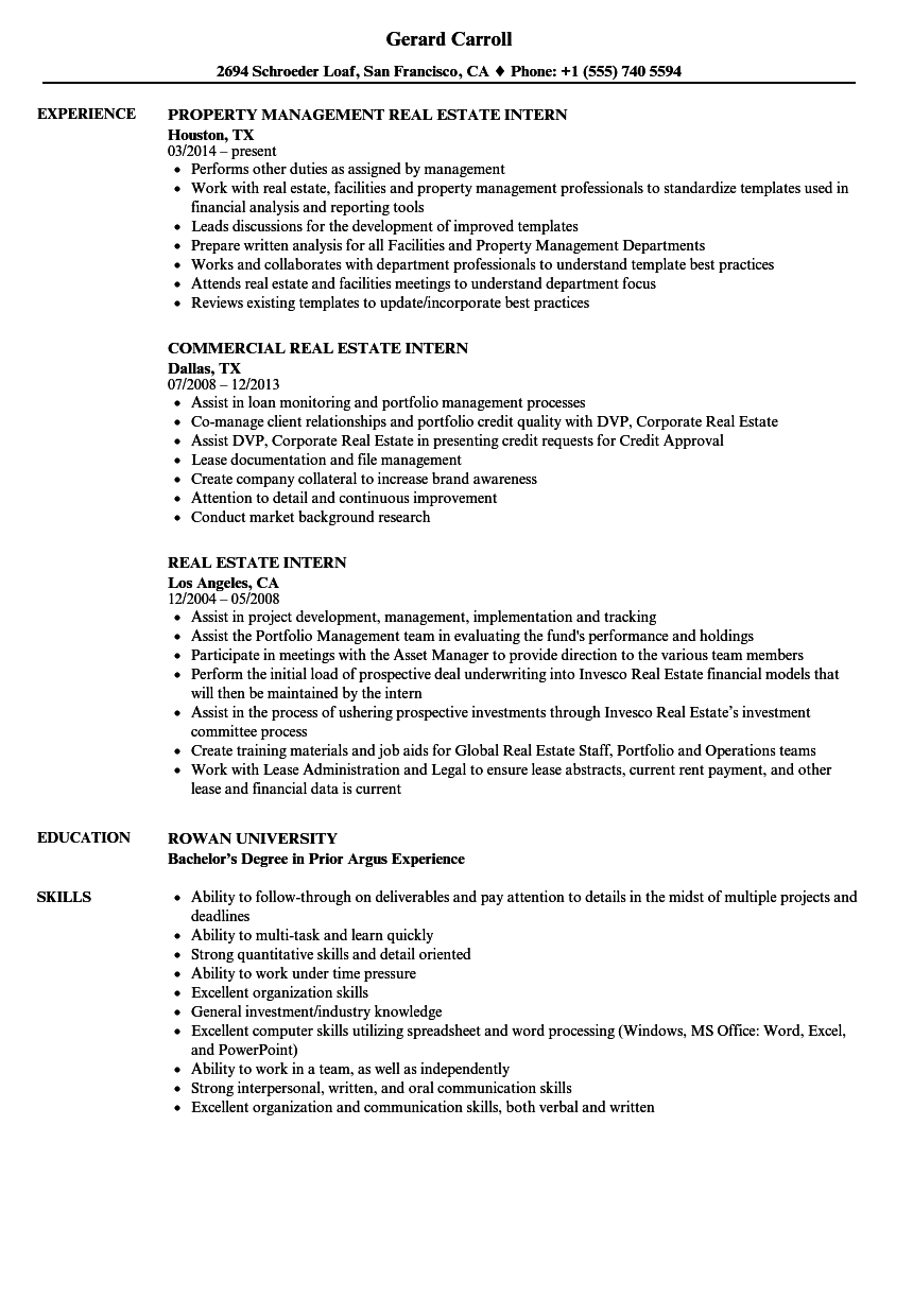 Real Estate Intern Resume Samples | Velvet Jobs