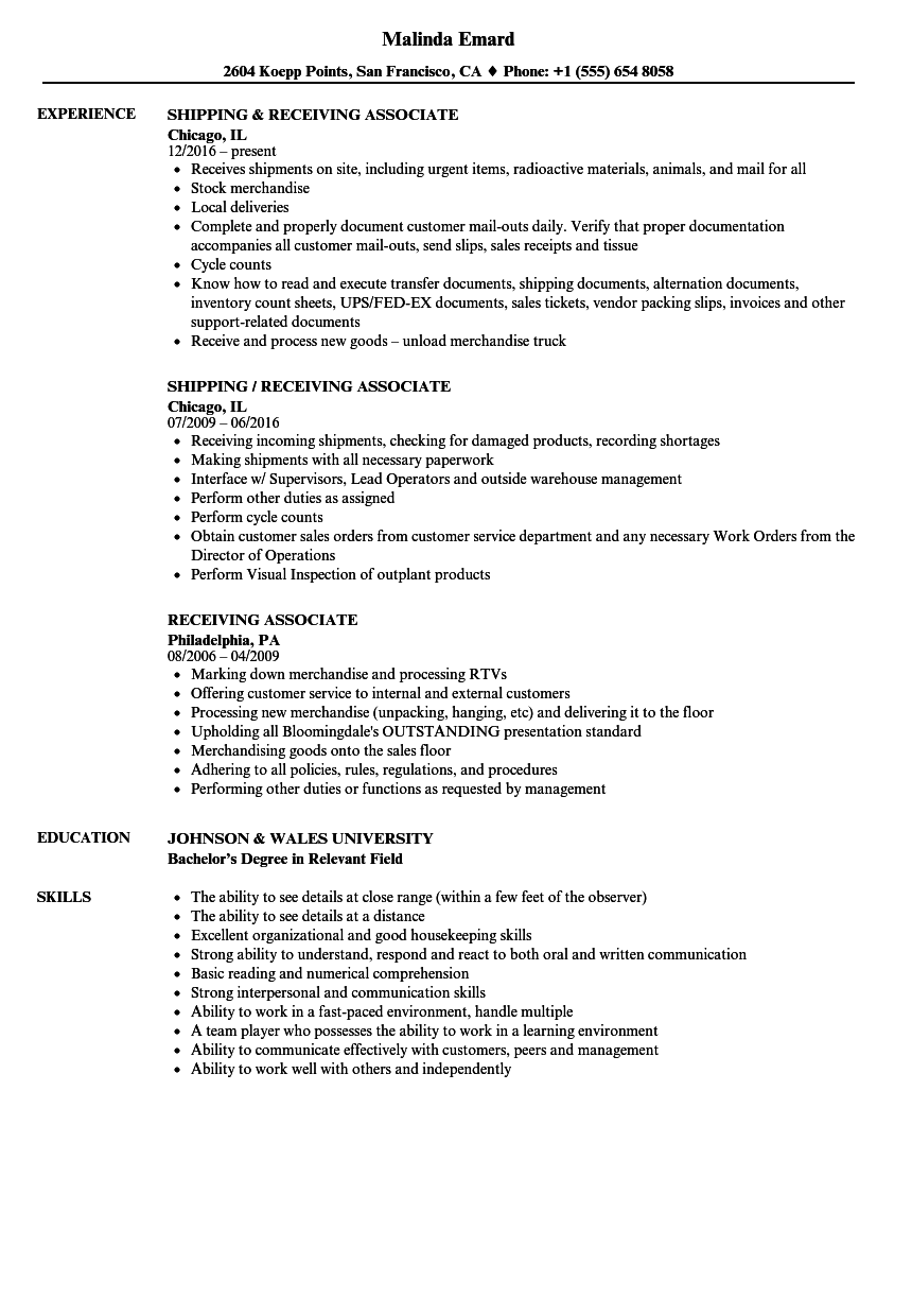 quality receiving inspector resume sample